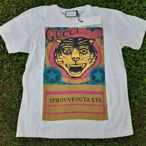 GUCCI MENS TIGER PRINTED COTTON CASUAL BASIC TEE